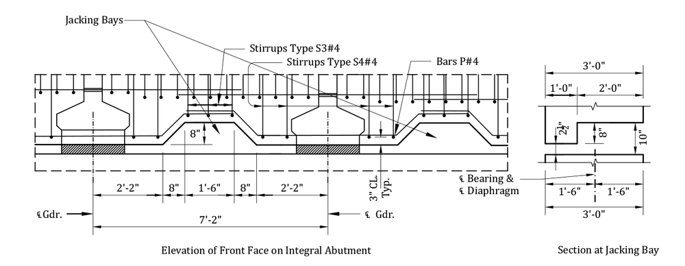 details of jacking bays between girders in semi-integral abutment diaphragm via aldot