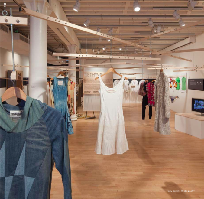 Installation view of  Ethics + Aesthetics - Sustainable Fashion,  Pratt Manhattan Gallery, 2009