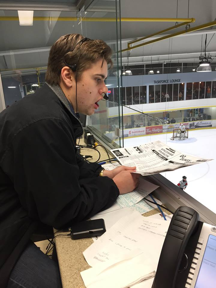 Harper calling a game for the Wellington Dukes, Jr. A hockey club of the Ontario Junior Hockey League.