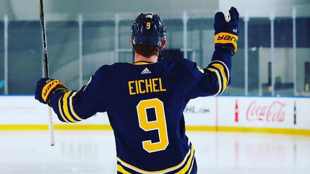 Newly named captain of the Buffalo Sabres, Jack Eichel, sporting his new number 9.