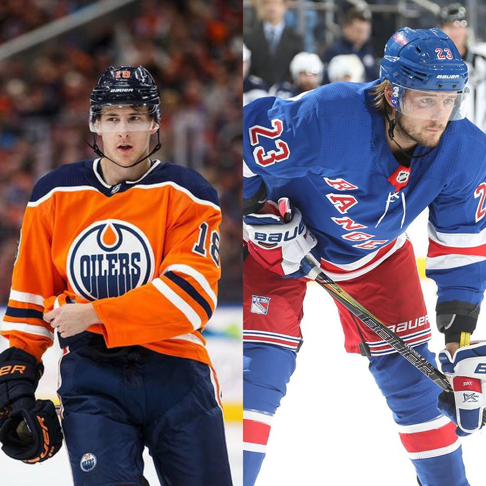 Ryan Strome with the Edmonton Oilers (left) & Ryan Spooner with the New York Rangers (right).