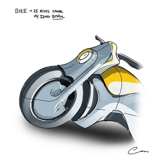 So my iPad has stopped reading finger input. I can't zoom. Scroll. KILL ME SERIOUSLY OH MY GOD. Anyway here be bike. • #sketchbook  #sketch #sketching #designsketch #design #designer #industrialdesign #productdesign #sketchaday #designoftheday #illustration #procreate