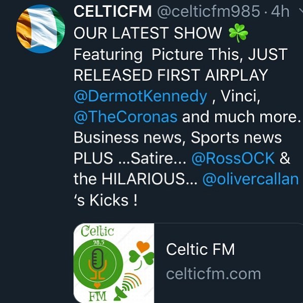 OUR LATEST SHOW ☘️ Featuring  Picture This, JUST RELEASED FIRST AIRPLAY  @DermotKennedy , Vinci, @TheCoronas and much more. Business news, Sports news PLUS …Satire... @RossOCK & the HILARIOUS… @olivercallan 's Kicks !  https://celticfm.com/podcasts/