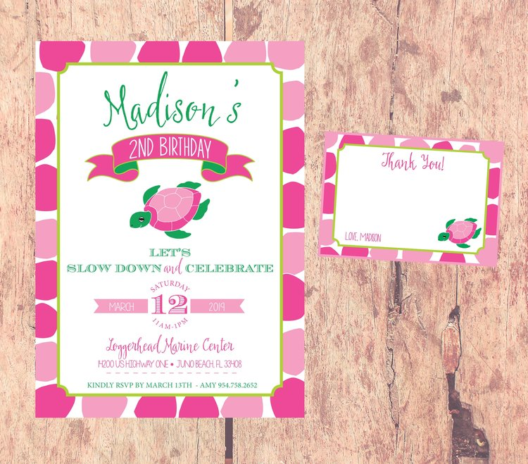 Turtle Themed Birthday Invitation Invite Girl