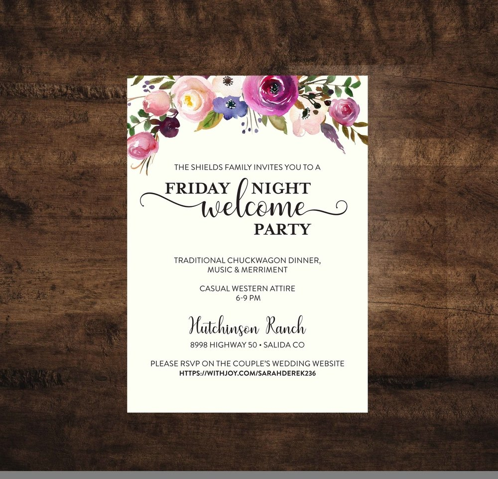 Watercolor Floral Wedding Welcome Party Invitation Lovely Little Party