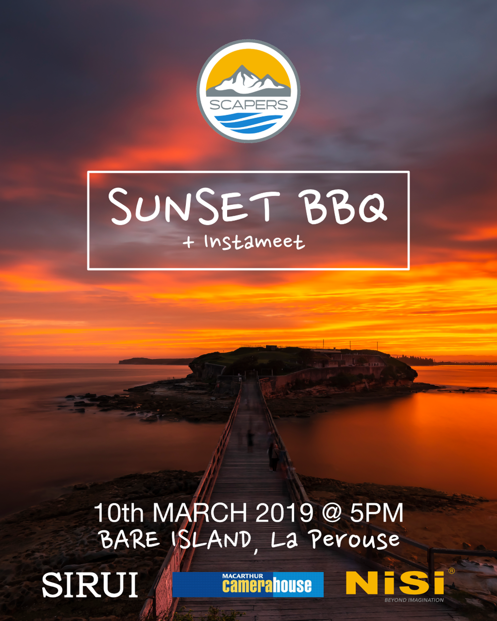 Sunset BBQ Meet - 10th March 2019 - Our first meet of 2019 and we're excited to announce that our sponsors Nisi, Sirui & MacArthur Camerahouse are throwing in some incredible prizes once again.Join us at Bare Island, La Perouse on 10th March at 5pm for a bbq and chat followed by a Sunset shoot around the Island.Andrew from Nisi will be there on hand lending out gear to anyone who wishes to try out some filters!Prizes will be drawn at random(must register) so you don't want to miss out on this! Please register your attendance to be in the running for the prizes and subscribe to Ozscapers so you are kept up to date with all our upcoming events this year! See you all there!