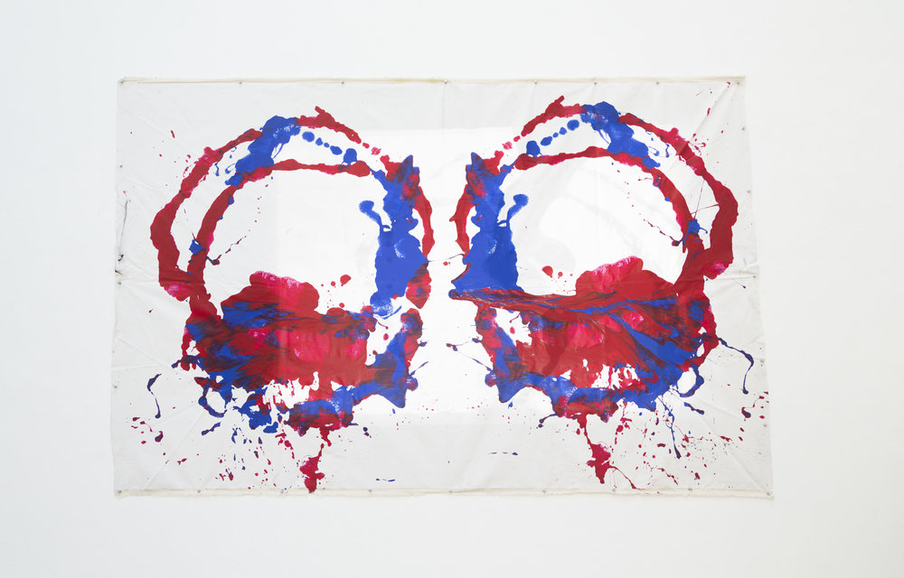 Mariposa (Acrylic on Canvas with Video Projection) by Daniela Parrado