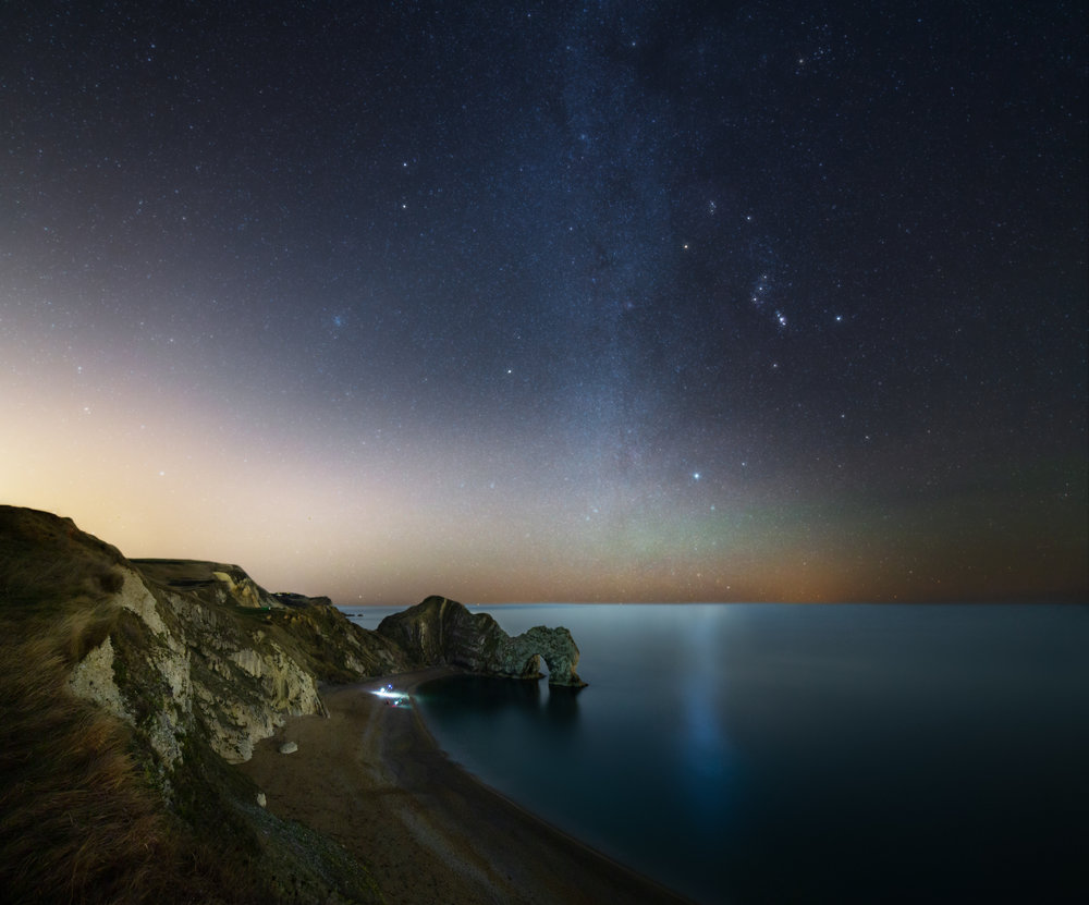 Durdle Door - Sky exposure: ISO 800/F2.8/240 Seconds. Foreground exposure: ISO800/F2.8/320 Seconds.