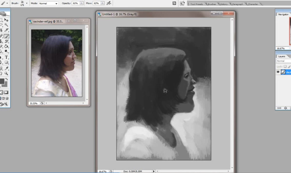 Lesson 3: Value Sketching - Paul takes you through a demonstration showing how to use a large brush to create a grayscale 'value' sketch, finding the bigger shapes and ignoring detail. (Video duration: 58:28)Assignment 3: Using Photoshop (or equivalent), paint three views of either Jules, Ravinder or Trevor, choosing one perspective for each. Use only one brush, keeping it as big as possible for as long as possible, blocking in the larger areas of value. (Estimated time for completion after tutorial: 2+ hours.)