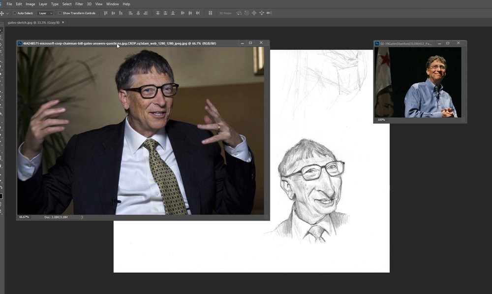 Lesson 2: Reference - Paul discusses the importance of searching for good reference. He'll teach you how to search for, and use, photos of Bill Gates as an example and research his likeness to aid a final sketch. (Video duration: 1:01:25)Assignment 2: Find reference of Queen Latifa, make a shortlist of the best ones, the choose one as your main reference to work from. Use YouTube, Wikipedia and other sources to get a feel for her personality to aid your reference search. Make thumbnails and a finished pencil sketch. (Estimated time for completion after tutorial: 3+ hours)