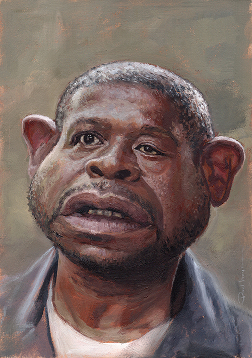 """""""Forest Whitaker""""  £500  Oil on board 148mm x 210mm (click image) Unframed Glazed with Retouch Varnish.  FREE SHIPPING WORLDWIDE"""