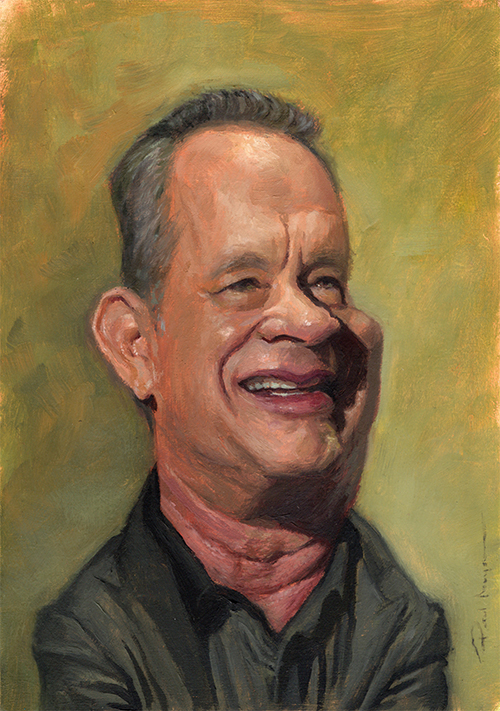 """Tom Hanks""  £500  Oil on board 148mm x 210mm (click image) Unframed Glazed with Retouch Varnish.  FREE SHIPPING WORLDWIDE"