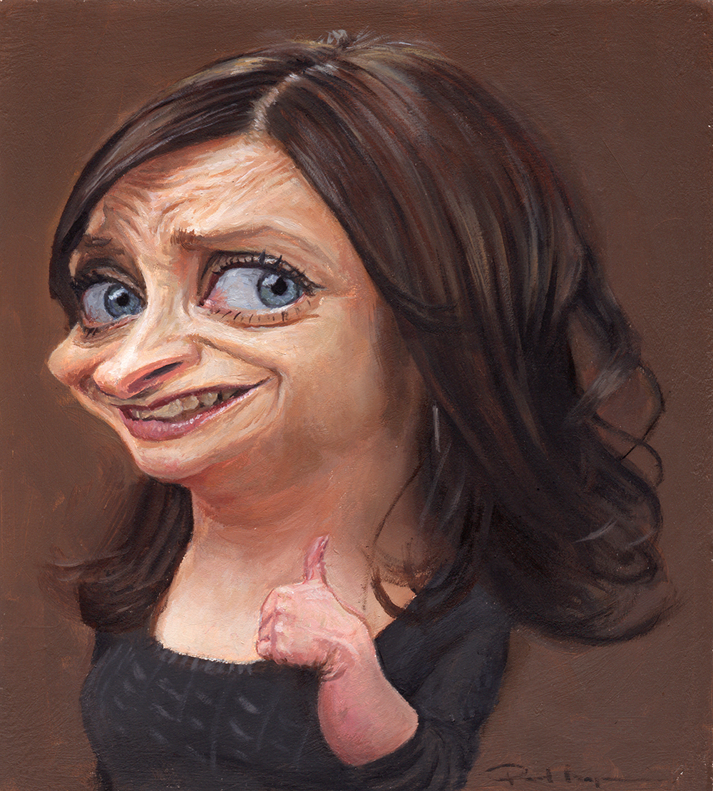 """Rachel Dratch""  £500  Oil on board 148mm x 164mm (click image) Unframed Glazed with Retouch Varnish.  FREE SHIPPING WORLDWIDE"