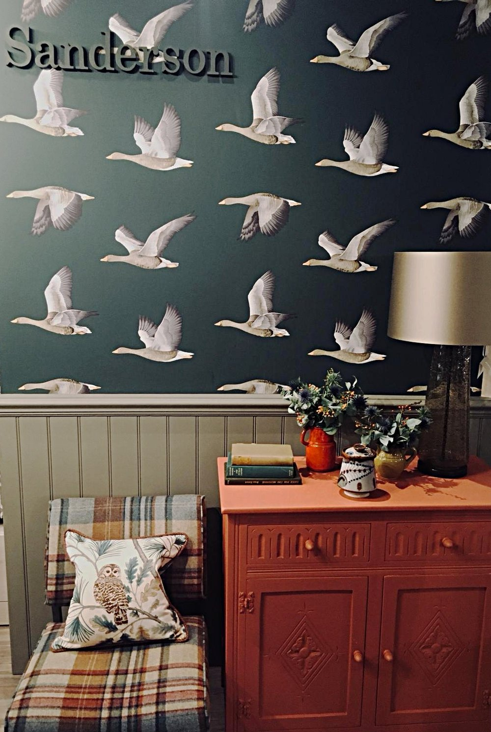 'Elysian Geese ' display by  Sanderson