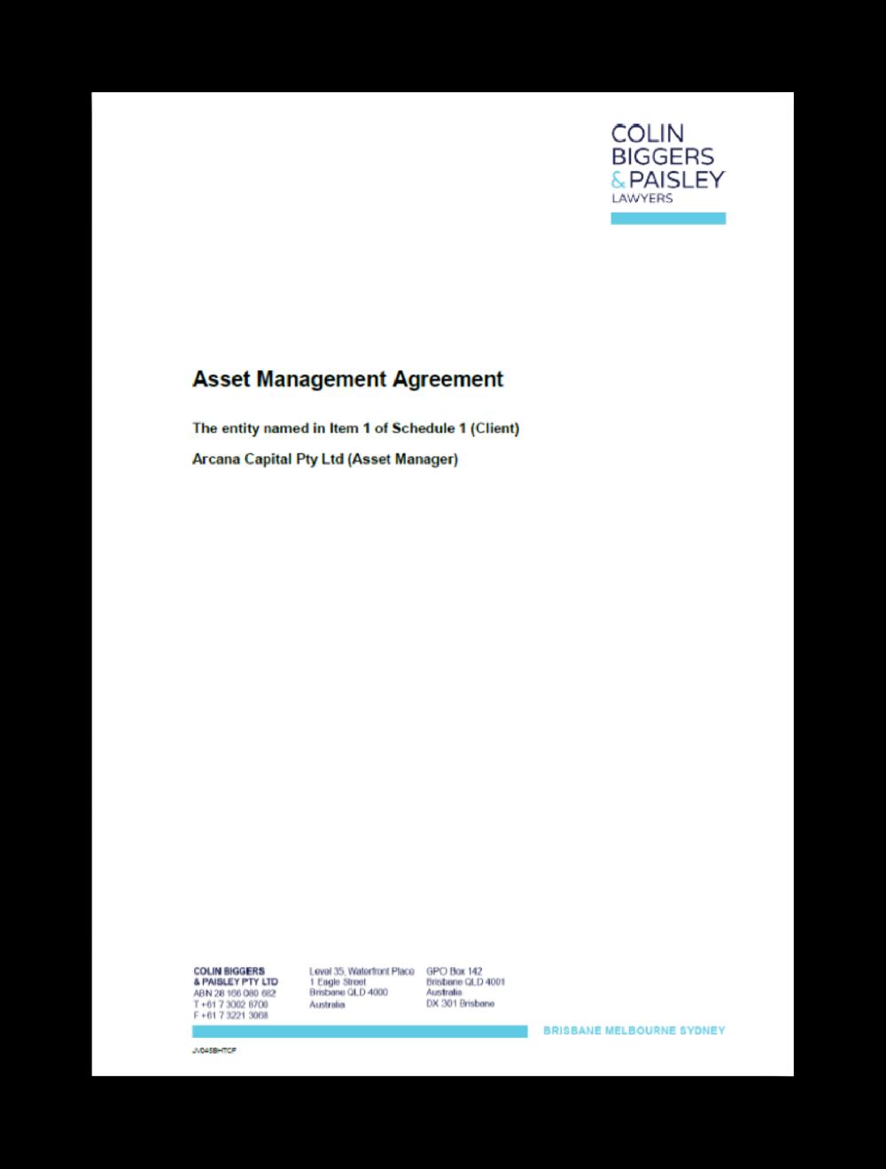 Asset Management Agreement (AMA)
