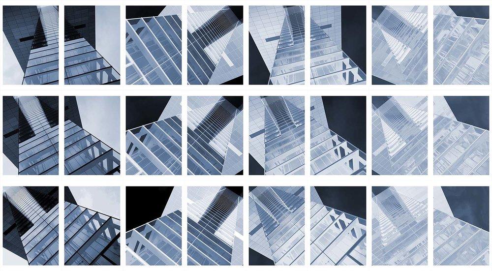 Presacral Vertebrae Densitometry  2014  Archival inkjet on cotton rag paper  145cm high x 264cm wide  24 panels, each 48.3cm high x 33cm wide