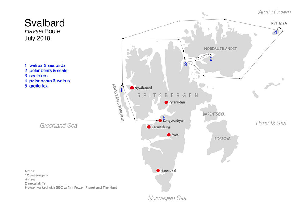 Map of Svalbard showing the route taken by  Havsel  and the locations where various wildlife species were observed