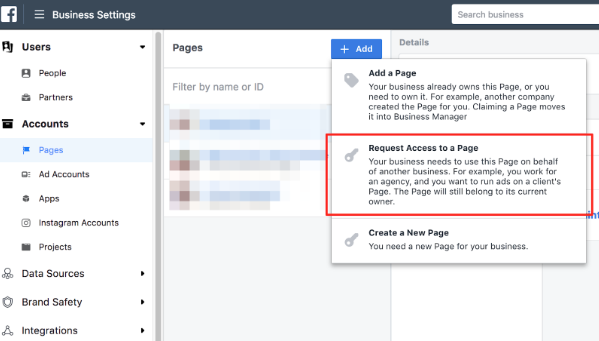 Claim a page or Request access to a page or create a new page