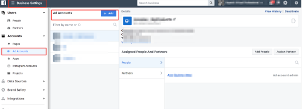 Add Facebook Ad account to business manager