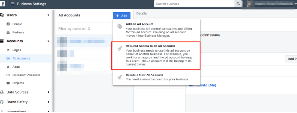 Facebook, Add New Ad accounts