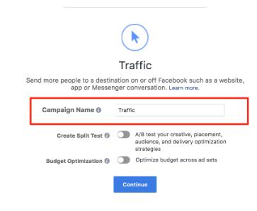 Facebook campaign type
