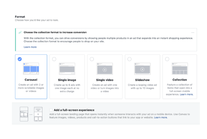 Facebook choose the collection format to increase conversion