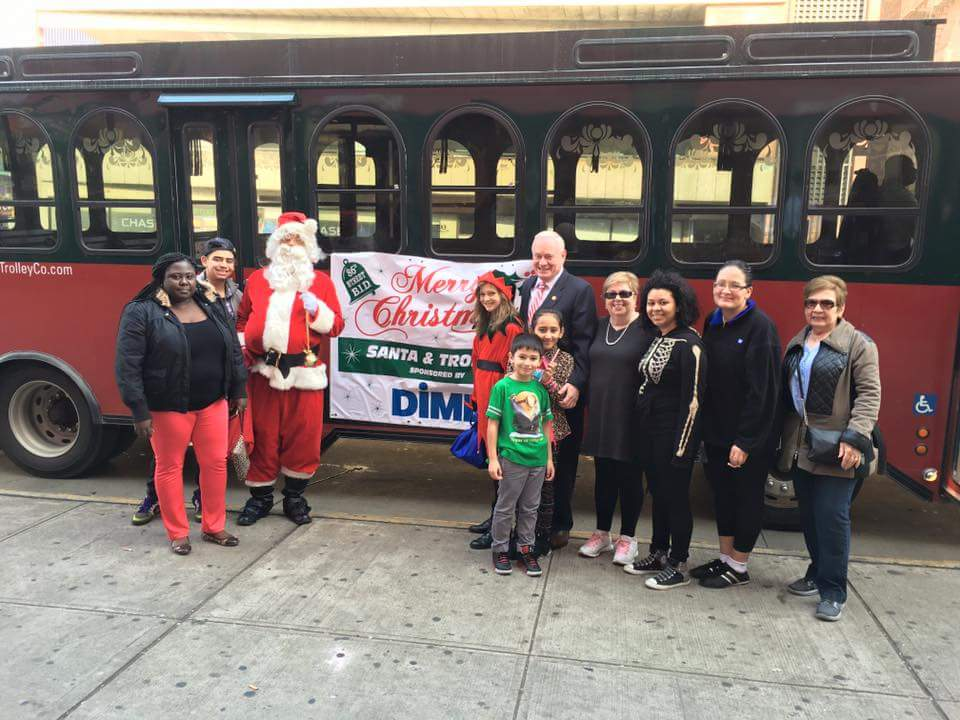 NYC minibus rental with Santa