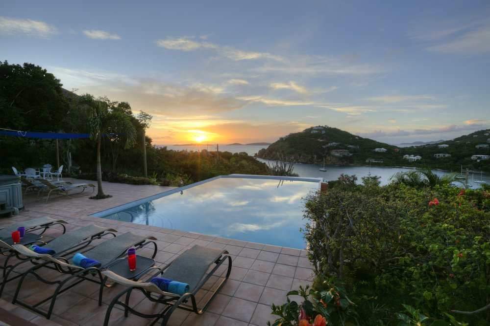 An almost typical sunset over the big pool and Chocolate Hole