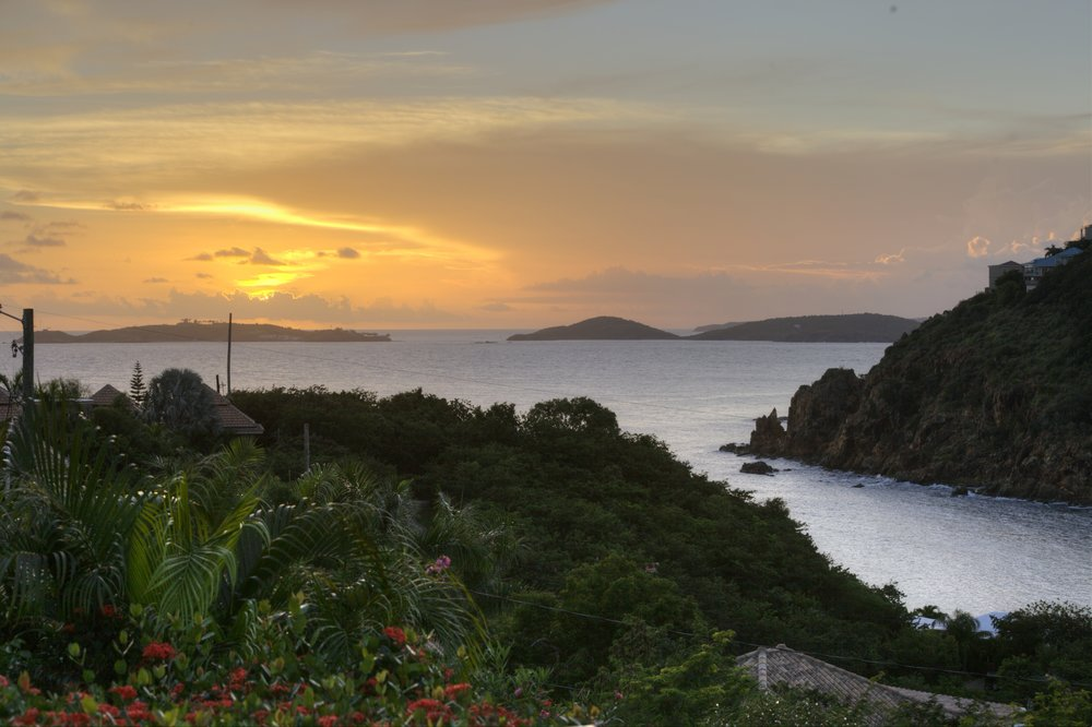 Sunset over the Virgin Islands from the Pool