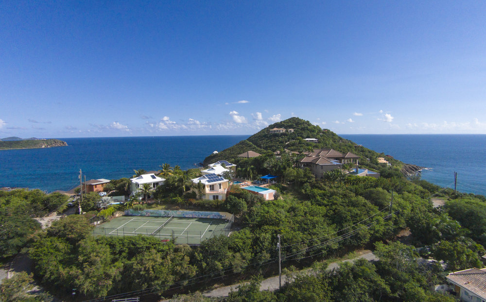 Aerial shot of our villa looking south