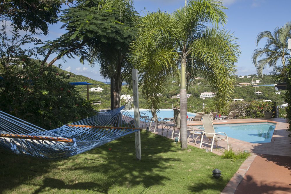 Coming out of Francis & Maho, you walk to the pool patio and Great Room