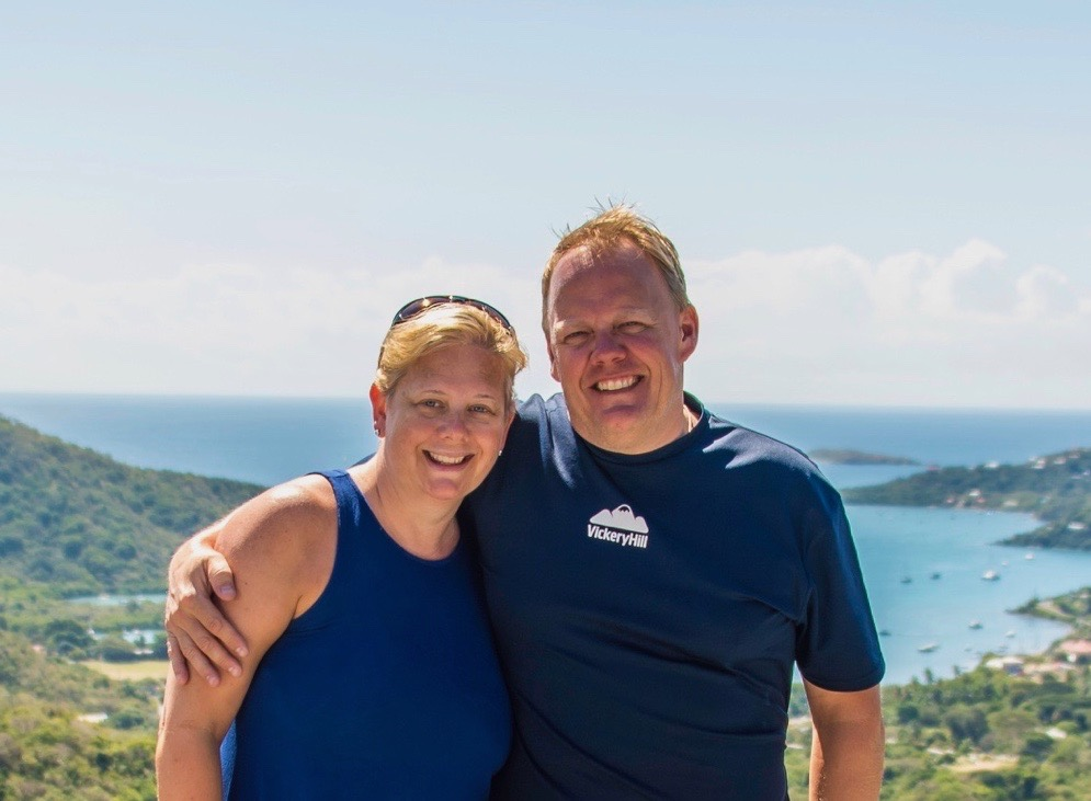 Carrie & Steve Butcher overlooking Coral Bay
