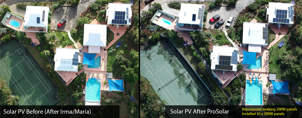 Before and After solar PV fixes from ProSolar on Great Expectations St. John Villa by ProSolar
