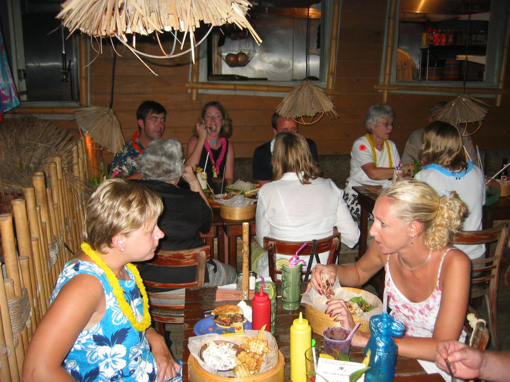 Day 5 - Rehearsal dinner/party at Duffy's Love Shack in Cruz Bay (now Dog House Pub). Bride checked into Westin.