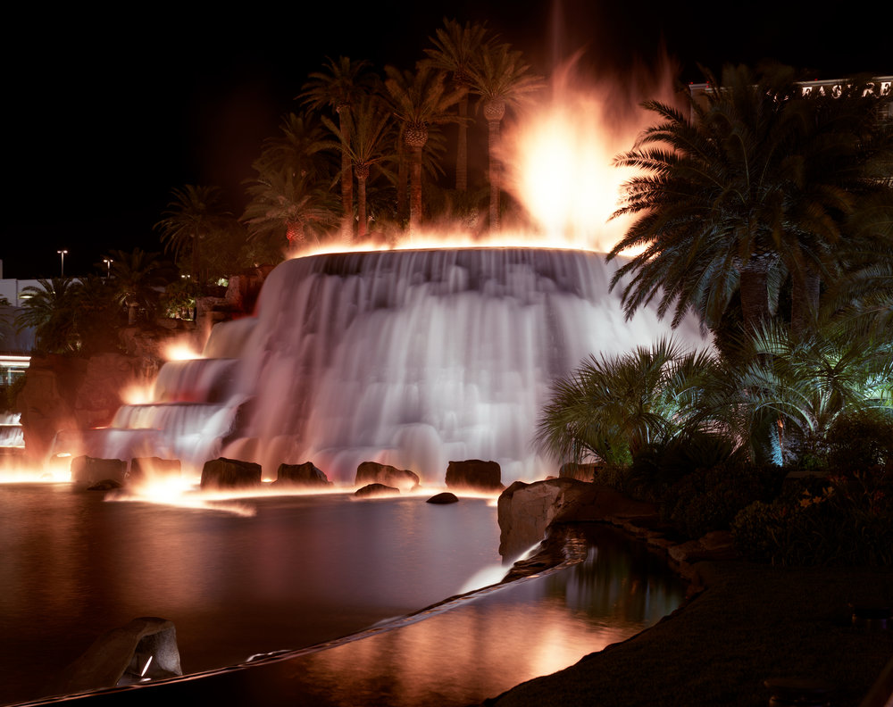 Artificial volcano erupting at the Mirage Hotel, Las Vegas, Nevada, 1995