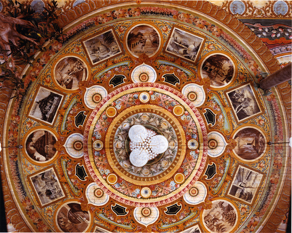 Ceiling with illustrations from black and white photographs of Sri Lanka's Dagobas, Gangarama Temple, Columbo, Sri Lanka, 1993