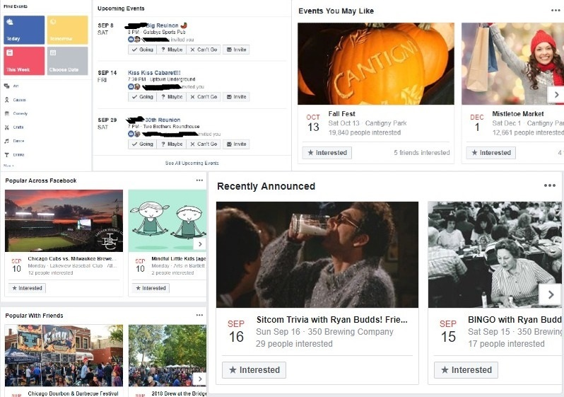 A collage of the Facebook events page very professionally edited by the author himself. The author would like to point out that he was invited to an older class' 30th reunion because he was so cool as a Freshman that he knew Seniors. It is not yet his year for a 30th reunion.