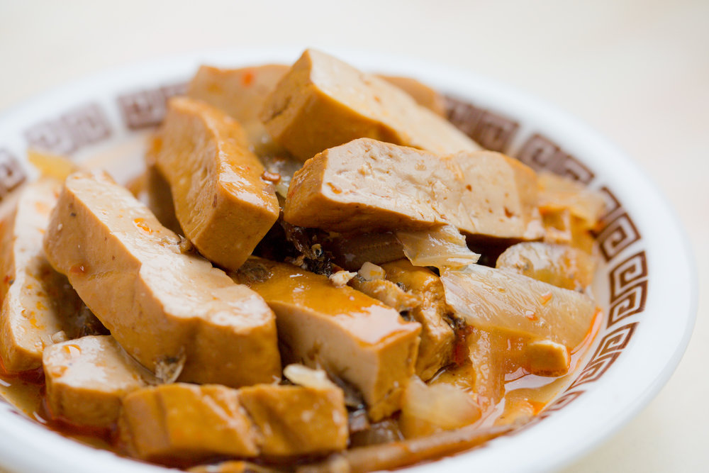 干し豆腐と小魚