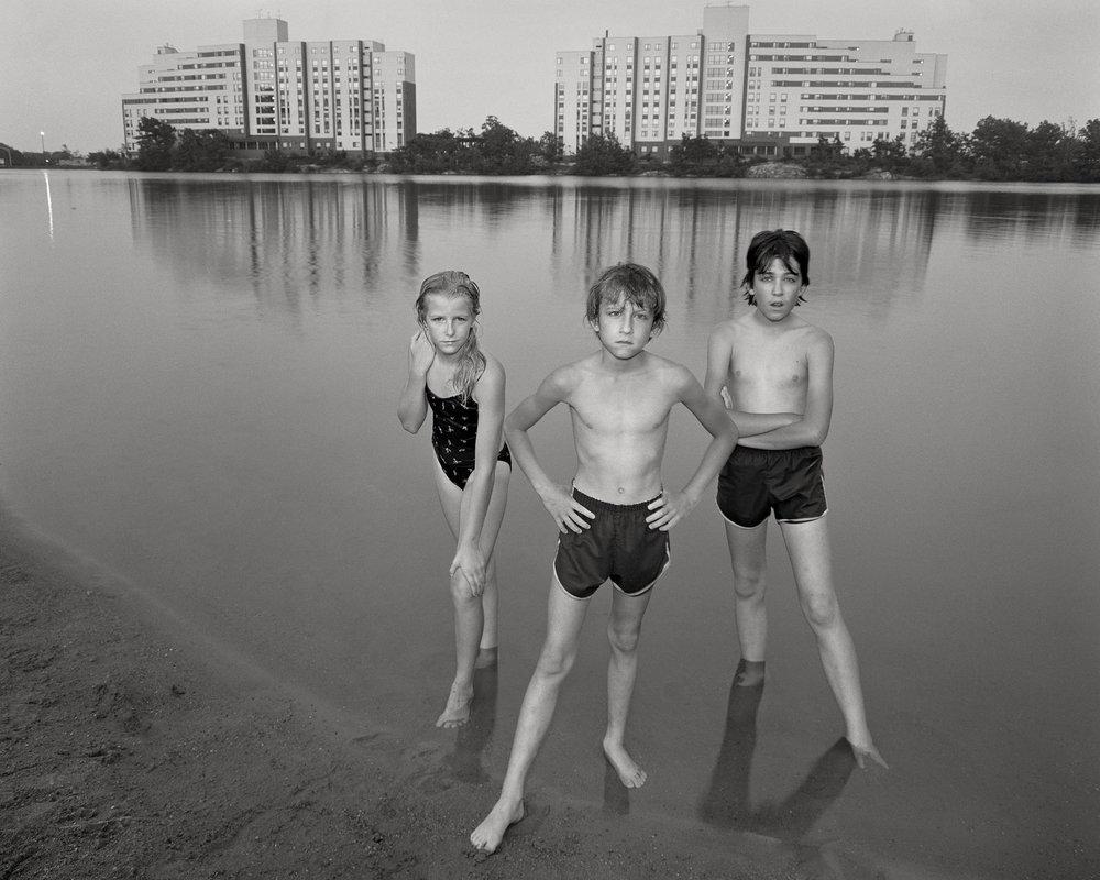 "Bell Pond: Cheryl, Jamie, Michael - 8""x 10"" large-format, 1983, © Stephen DiRado"