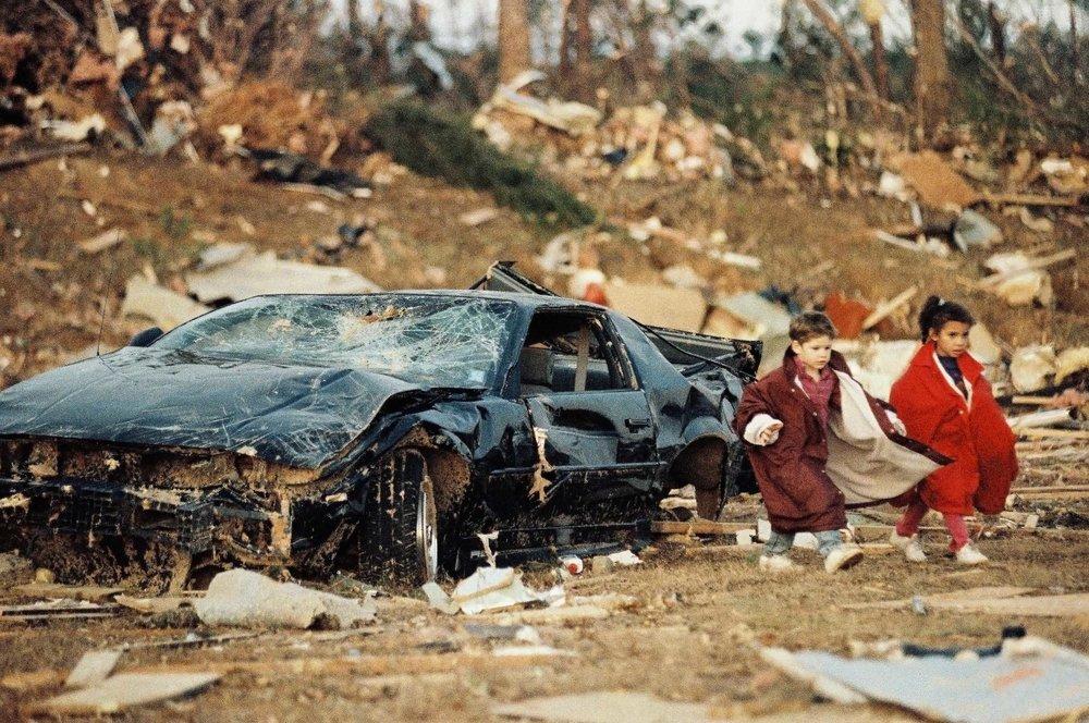 Children Amidst Tornado Wreckage - Print, 2001, © Karen Pulfer Focht