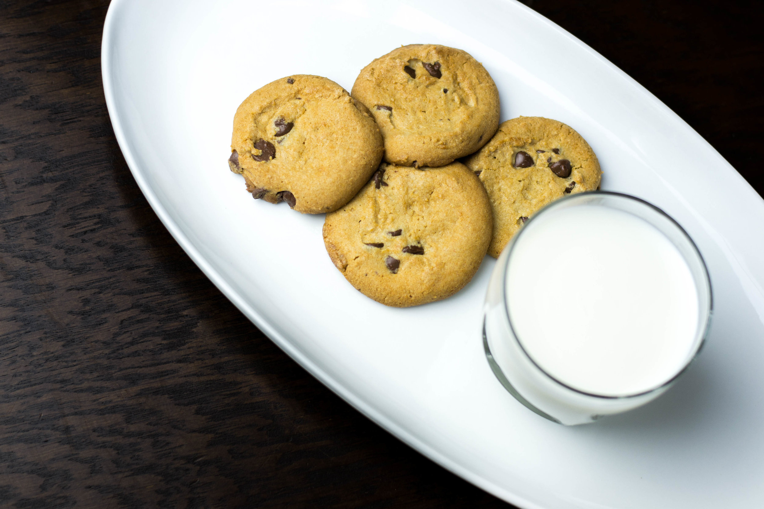 Schwan's cookies with a glass of milk