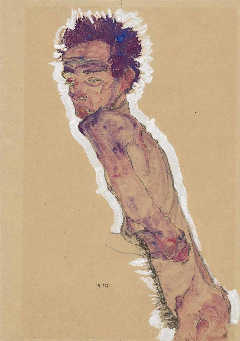 Egon Schiele#'Nude self portrait'
