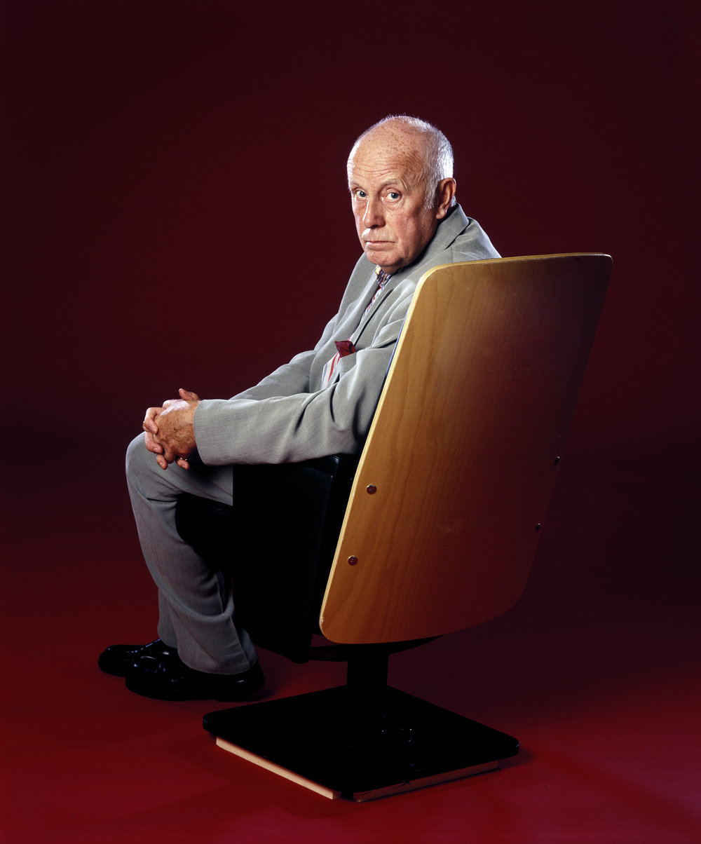 Richard Wilson , actor, shot at Birmingham REP Theatre for national chair sponsorship initiative across theatres.