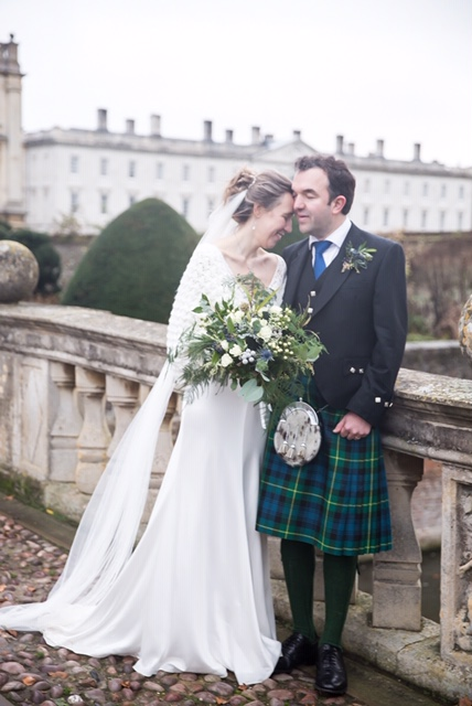Alyson and Hugh at Clare College, Cambridge. Photography by  Hannahlarkinphotography.com