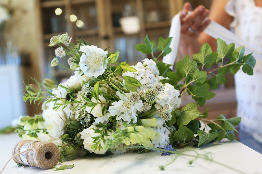 Hand tied bouquets made with garden flowers