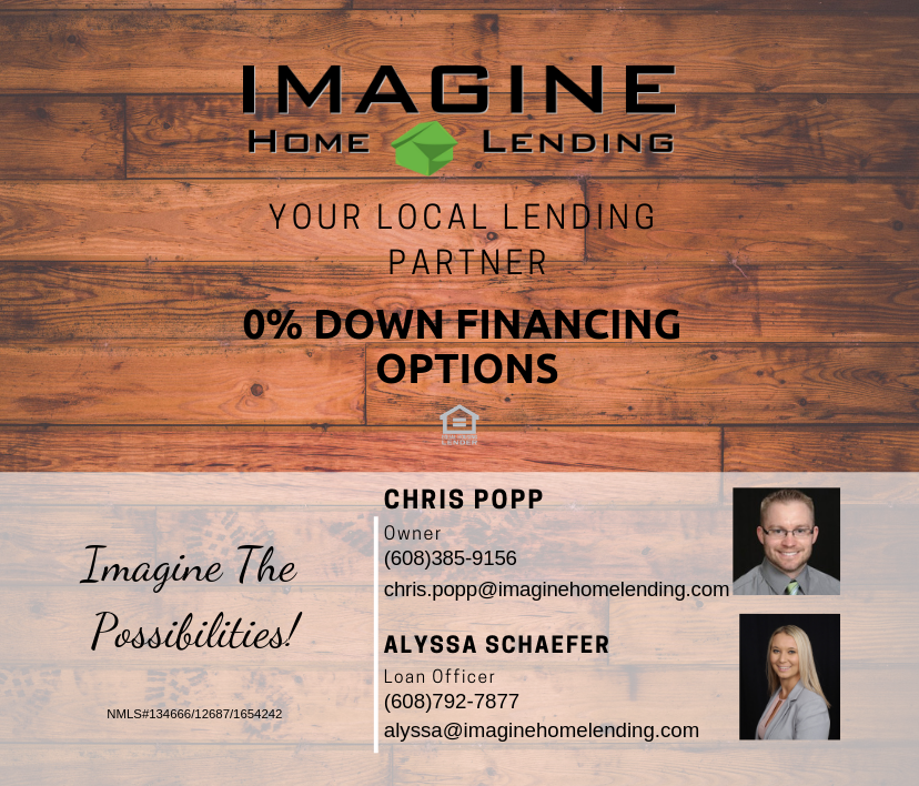 imagine home lending, low down payment options, alyssa schaefer, chris popp, loan officer, local, small business, loan, mortgage, home, first time home buyer, new home, zillow, wisconsin, realestate
