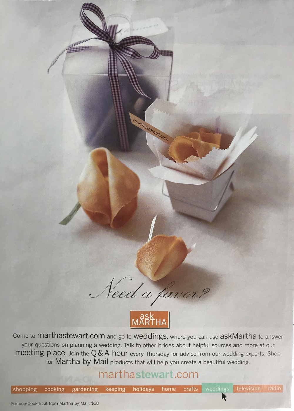 For house ads, Editor-in-Chief Stephen Drucker supplied the concept direction while Lindsay wrote the body and occasionally the headline as well. In the case of this launch ad for askMartha Weddings, when the original ad creative was pulled last minute, Lindsay provided concept direction, headline and body.