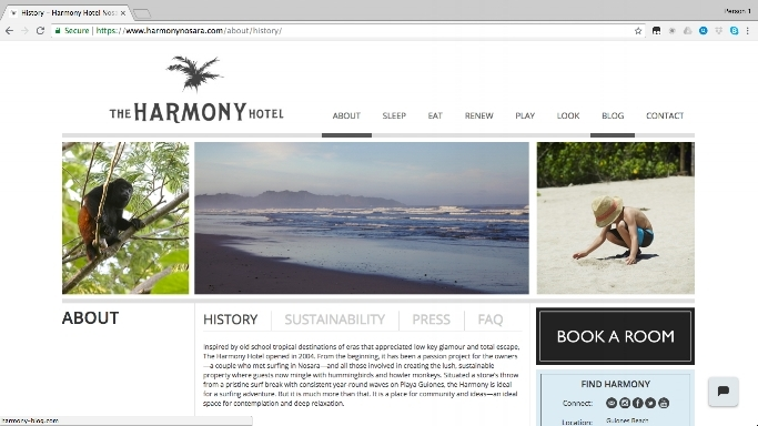 Lindsay served as Writer and Editor of copy and navigation for The Harmony Hotel's startup website. Later re-designed (shown here) by another team for mobile and social media purposes, the site, as shown here, is still peppered with the original copy and voice that Lindsay worked closely with the client to develop.