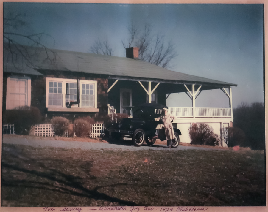 John Scully pictured in front of the original clubhouse at Winchester Country Club in 1924.