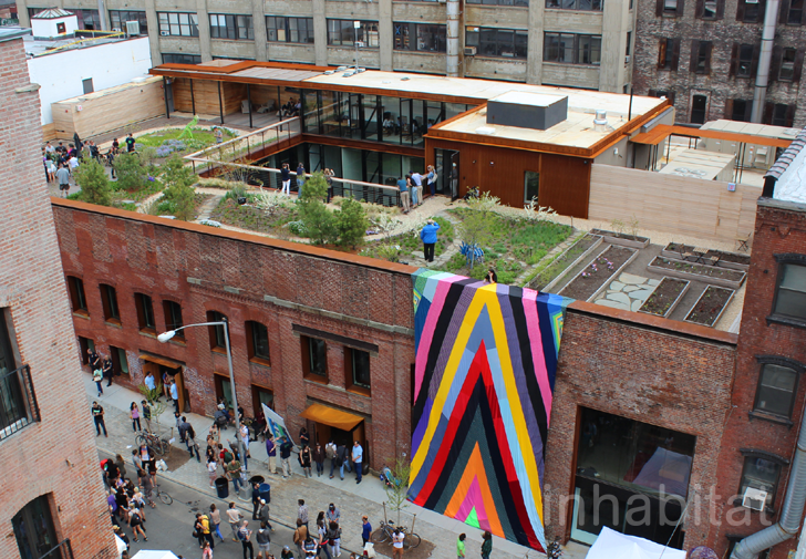 A view of Kickstarter HQ's  green roof  in Greenpoint, Brooklyn
